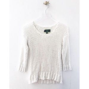 c. wonder / sheer white crew neck knit sweater